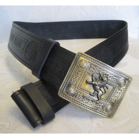 Cinto Celtic Embossed Black Leather & Rampant Lion Buckle