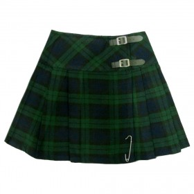 "Kilt Tartan Femina Black Watch 16.5"" (Mini Kilt) Com Pin"