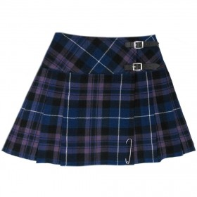 "Kilt Tartan Feminina Honour Of Scotland 16.5"" Purple (Mini Kilt) Com Pin"