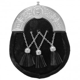 Sporran Scottish Black Cowhide Dress Celtic Cantle Sporran With Tassels