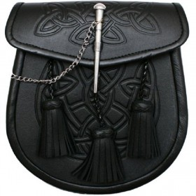 Sporran Celtic Pattern 3 Tassels Black com Pin Lock