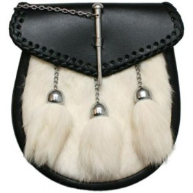 Sporran/Po​uch Pin Lock White Rabbit Fur