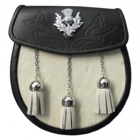 Sporran White Bovine Scottish Kilt  - Thistle Badge, 3 Tassels