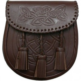 Sporran Celtic Pattern 3 Tassels Brown (Marron)
