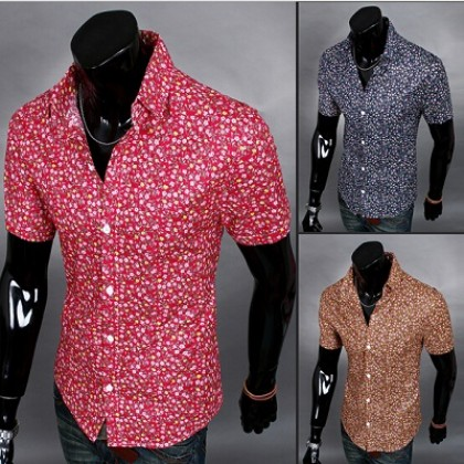 Camisa Masculina Havaiana Flower Slim Fit Casual