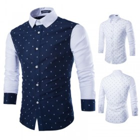 Camisa Masculina Turn Down Collar Casual Broadcloth Magro