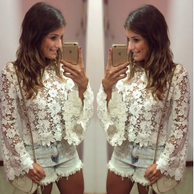 Blusa Renda Floral Ladies