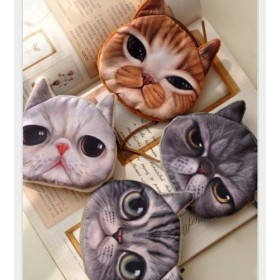 Porta Moedas/Maquiagem Cut Cat Face (Zipper Case Coin Purse)